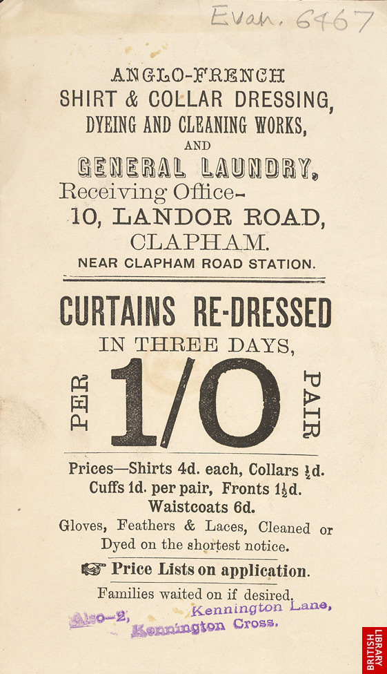 Advert for the Anglo-French Laundry